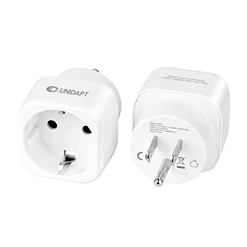 European to US plug adapter, Unidapt EU to USA plug adapter converter, Europe to American Outlet Plug Adapters, Travel Adapter EU to US Adaptor - Type B (2-pack)