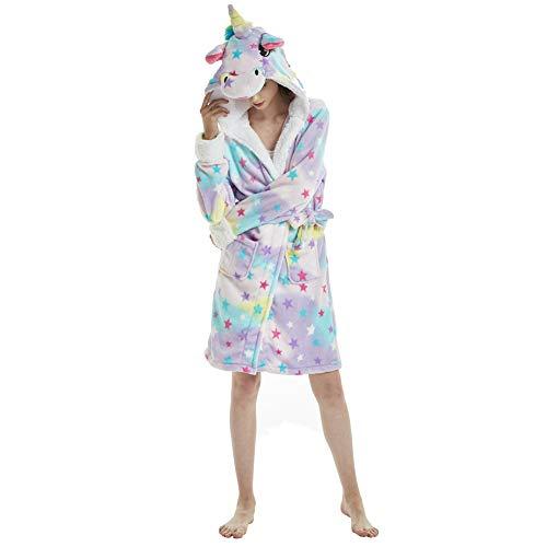 Yimidear Onesie Einhorn Pyjama Bademantel Einhorn Tier Pyjamas Nachthemd Nachtwäsche Mit Kapuze Halloween Weihnachten Cosplay (Large, Sterne)
