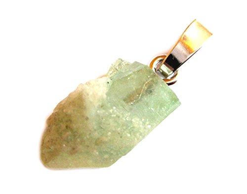 Apophyllit Roh-Kristall grün 10 mm mit 925er Silberöse