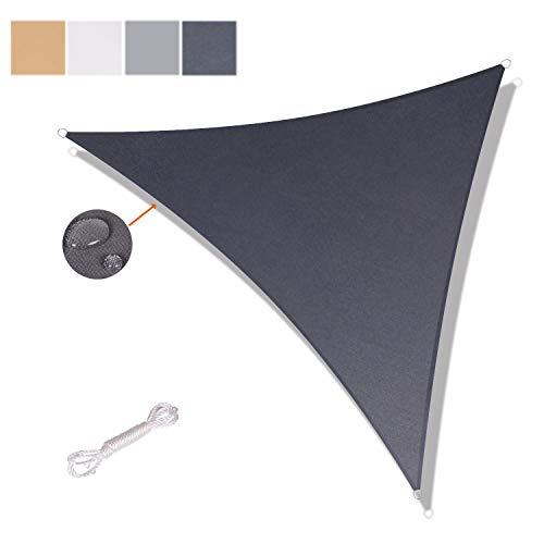 SUNNY GUARD Toldo Vela de Sombra Triangular 3.6x3.6x3.6m Impermeable a Prueba de Viento protección UV para Patio, Exteriores, Jardín, Color Antracita