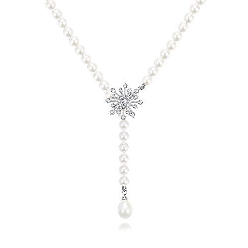 【Amazon限定ブランド】ロングネックレス レディース パールネックレス 貝パール8mm 結婚式 真珠 母 女性 ネックレス90cm調整式 (多様な付け方)