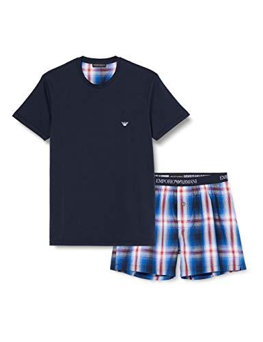 Emporio Armani Underwear Herren Loungewear - Yarn Dyed Woven Pyjamas Zweiteiliger Schlafanzug, Blau (SCOZ.BCO/OLTREM/Ross 65410), Large (Herstellergröße:L)