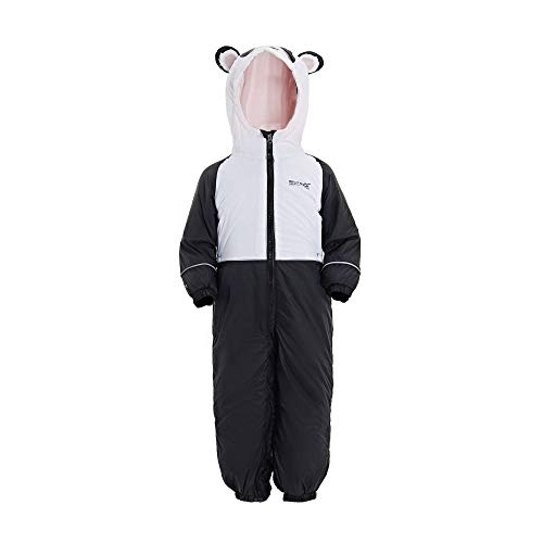 Regatta Kinder Gefütterter Regenanzug III Wasserdicht und atmungsaktiv isoliert Animal All-in-One Suit L schwarz/weiß