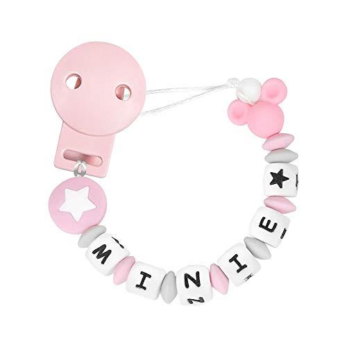 RUBY - Chupetero Personalizado para Bebe con Nombre Bola Silicona Antibacteriana con Pinza de Plástico, Chupetero Mickey (Rosa Pastel)