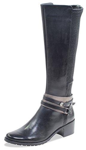 CAPRICE Damen Stiefel 25514-21,Frauen Boots,Lederstiefel,Reißverschluss, Decksohle,Blockabsatz 4.5cm,Black Nappa,UK 5,5