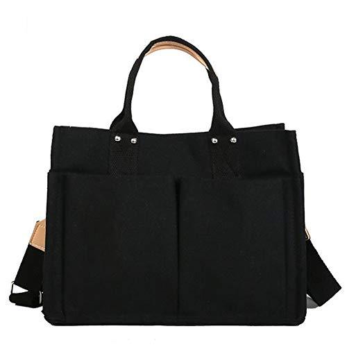 REGEN Ladies Canvas Simple and Versatile Multi-Pocket Handbag Practical Shoulder Bag Large Capacity Messenger Female Bag/Black