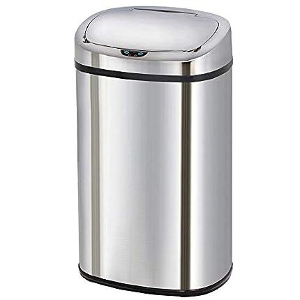 Kitchen Move BAT-58LS06 AS - Cubo de basura de apertura automática (diseño cuadrado, acabado en cromo inoxidable, 40 x 28 x 67 cm), acero inoxidable