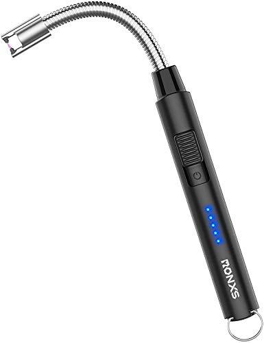 RONXS Accendino Elettrico, Ricaricabile Elettrico Accendigas per Candele, con Cavo USB e Blocco di Sicurezza, 360º Flessibile per Cucina, Candele, Barbecue, Campeggio
