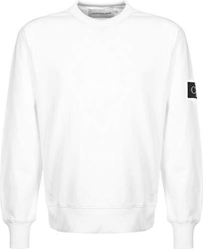 Calvin Klein Jeans Uomo Felpa con Stemma con Manica monogramma, Bianca, M
