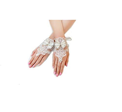 MIYA 1Pares Glamour Elegante Novia Handschuhe Mano Joyero Princesa Guantes de satén...