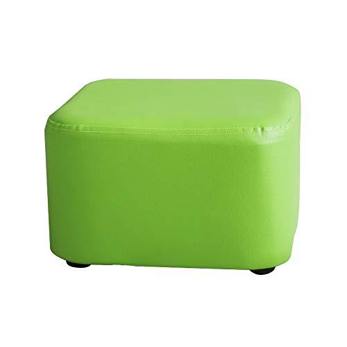 WZNING Einfarbiger Sofa-Hocker, PU-Leder-Fußhocker, wasserdicht, Wechselschuh-Hocker, Kinderhocker, Massivholz, quadratischer Hocker, 28 × 18 cm (Farbe: Grün)