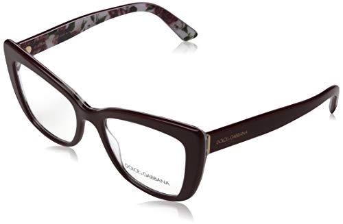 Dolce&Gabbana DG3308 Eyeglass Frames 3202-53 - Bordeaux/Rose And DG3308-3202-53, Bordeaux/Rose and Peony, 53/18/145