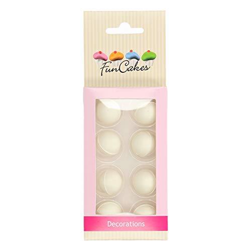 FunCakes Pearl Bolas de Chocolate Blanco - Delicioso Sabor a Chocolate, Certificado Sin Gluten, Set/8 30 gr, Pack de 12