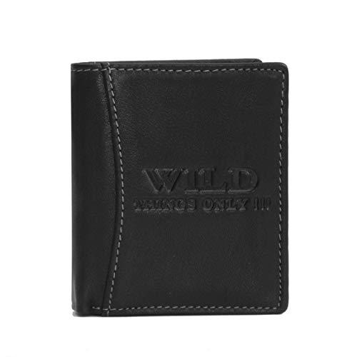 Wild Things Only !!! kleine Leder Herren Brieftasche Geldbörse Portemonnaie im Hochformat (Schwarz) - präsentiert von ZMOKA®