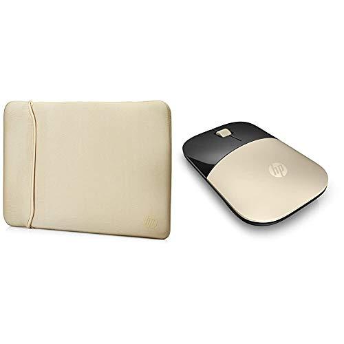 HP Inc 15.6'' BLKGOLD Chroma Neoprene Reversible Sleeve, Negro/ Dorado + Z3700 RF Raton óptico inalámbrico 1200DPI Dorado - Ratón