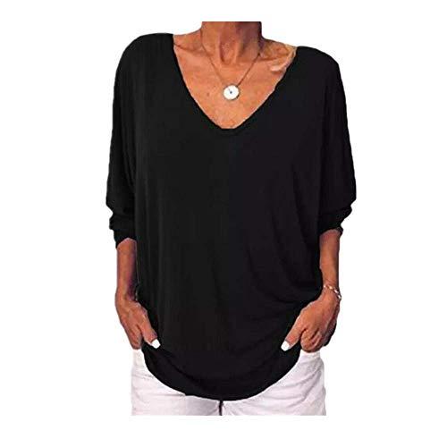 Otoño de las Mujeres Casual Sueltas Camisetas de Manga Volver Botón Camisetas Mujer Más el Tamaño V Cuello Sólido Femme Tops Ropa