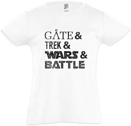 Urban Backwoods Gate & Trek & Wars & Battle Camiseta para Niñas Chicas niños T-Shirt Blanco Talla 12 Años