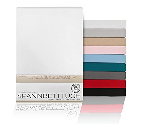 BEAUTEX Sábana bajera de algodón peinado, 160 g/m², tamaño y color a elegir, Boxspring - 100 x 200 x 45 cm, color blanco