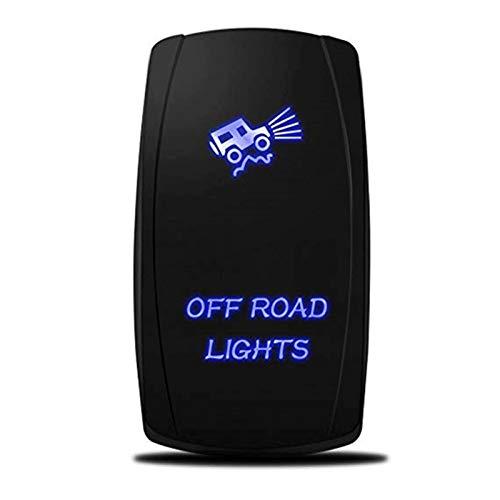 Interruptor impermeable al aire libre de 5 pines con láser azul retroiluminado fuera de las luces de la carretera para Mazda Sport Toggle Rocker Switch (Color : Blue LED Light)