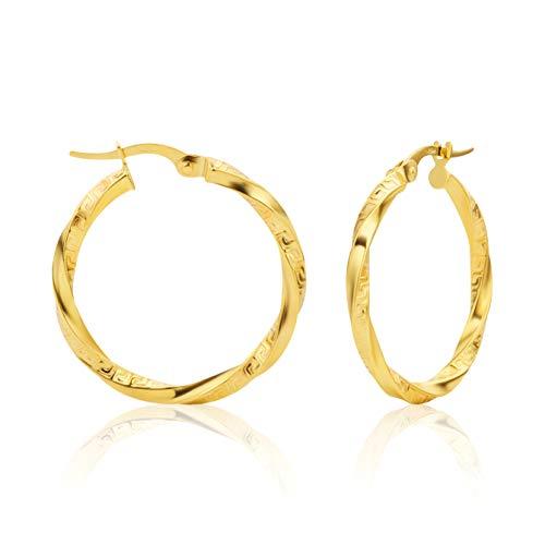 14 Karat Gold Gedrehte Griechische Schlüssel Hochglanz Ohrringe Creolen