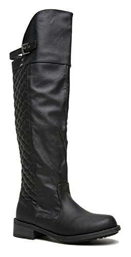 Delura Over The Knee Flat Riding Boot - Vegan Leather Pull On ? Comfortable Walking Cosplay Costume Boot Mystere Boot