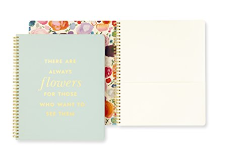 Kate Spade New York Large Spiral Notebook, 11' x 9.5' with Pocket and 160 College Ruled Pages, Quote- Flowers