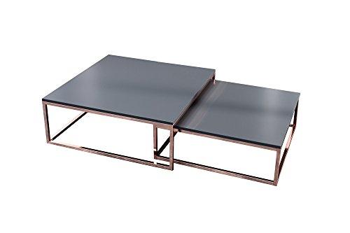 DuNord Design Couchtisch Beistelltisch 2er Stage anthrazit matt Kupfer Design Tisch Set