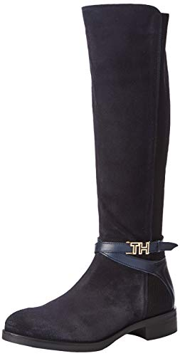 Tommy Hilfiger Damen TH Hardware Mix LONGBOOT Hohe Stiefel, Blau (Midnight 403), 41 EU