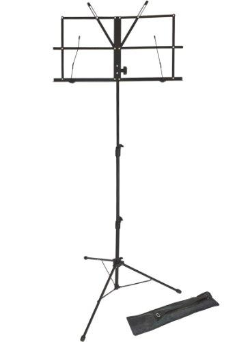 Lawrence LMS02-BK - Atril (plegable, regulable, metal, con funda), color negro
