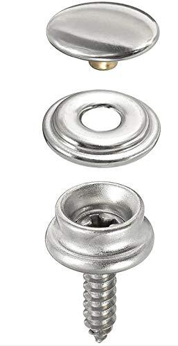 20 x bottone a pressione per avvitamento, in acciaio inossidabile, set di 3 pezzi con bottone con vite e bottone automatico (lunghezza vite 10 mm o 15 mm a scelta)