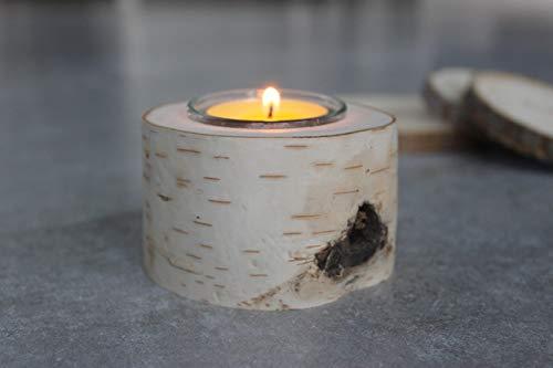 Generisch Herzensstücke aus Birke: Teelichthalter aus Birke 4er-Set handgefertigt aus Norwegen Tischdekoration Weihnachtsdekoration Hochzeitsdekoration (H: 5 cm, D: 7cm) Glas und Teelicht inklusive