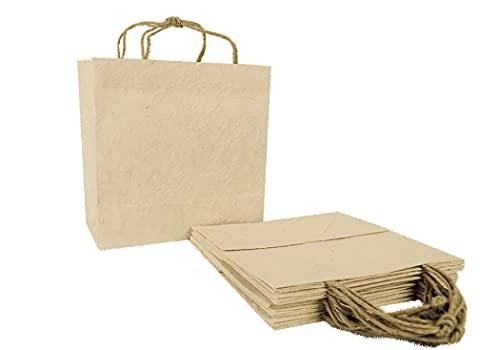 Öko-Tragetasche Geschenkverpackung handgefertigt Naturrinde Medium - Stück pro Packung 6 (31cm x 29cm x 7cm)
