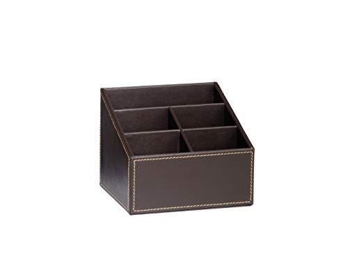 ANDREA HOUSE - Porta mandos Efecto Piel marrón Chocolate 16,5x13,5x13cm