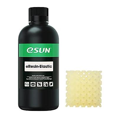 eSUN Flexible TPU-Like 3D Printer Rapid Resin, 405nm LCD UV-Curing Photopolymer Resin for Photon LCD 3D Printer Liquid 3D Resin, 500g Transparent Yellow