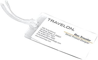 Travelon Set of 3 Self-Laminating Luggage Tags, Clear, 4.5 x 2.75 x 0.25