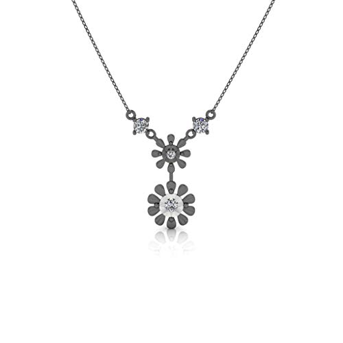 Jbr Duo Floret Miracle Plate Sterling Silver Necklace Wedding Anniversary Valentine's day for Wife Girlfriend Girl with Gift Box