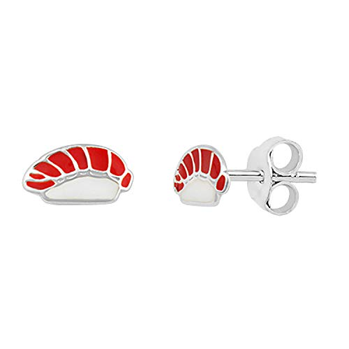 Sterlingsilber Emaille Thunfisch Sushi Ohrstecker