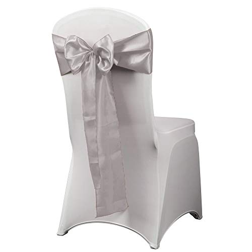 HAORUI 12PCS Satin Chair Sashes Bows for Wedding Chair Decoration (Silver)