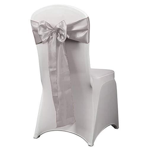 HAORUI 12PCS Satin Chair Sashes Bows for Wedding Chair Decoration (Silver)