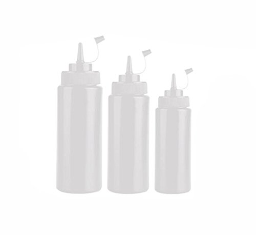 2PCS Empty Clear White Refillable Plastic Squeeze Sauce Condiment Bottles Container Seasoning Dispenser for Ketchup Mustard Sauce Vinegar Cream Honey Salad Dressing (400ml/ 14oz)