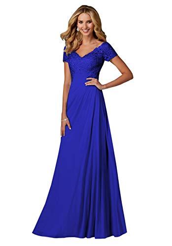 Women's V Neck Lace Chifon Slit Wedding Dresses for Bride 2019 Long Sleeve Bridal Ball Gown White Size 8