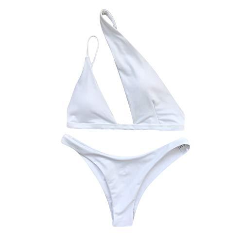 Conjunto de bikini de un solo hombro para mujer, traje de baño de 2 piezas, mini tanga Tankini, blanco, M