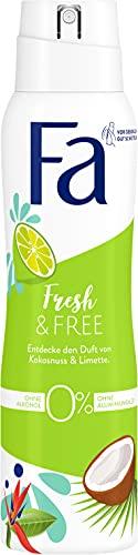 Fa Deospray Fresh & Free Kokosnuss & Limette ohne Alkohol, ohne Aluminiumsalze, 48h Schutz, 150 ml