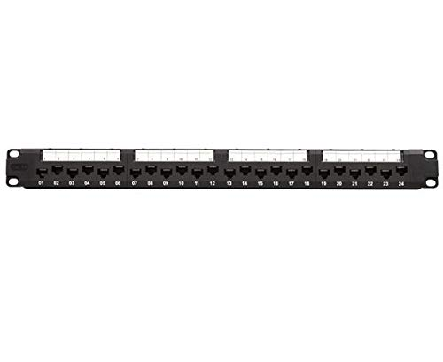 CAT6A 10G Unshielded Patch Panel,24 Port,Staggered Ports,1U Rack...