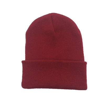 Sombreros de Invierno para Mujer nuevos Gorros de Punto sólido Lindo Sombrero niñas otoño Gorros Femeninos Gorros más cálidos Gorra Informal para Mujer-Winered
