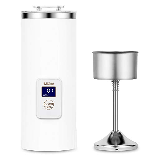 iMiGoo Single Serve Coffee Maker 8 OZ, Portable Coffee Maker, Tea Maker, Electric Kettle, Stainless Steel, AC 110-120V White
