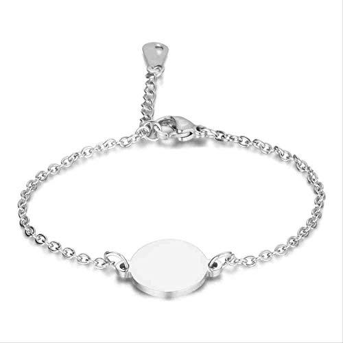 JYHW Custom Name Logo Ronde Armband voor Vrouwen Letter Leuke RVS Armbanden & Bangles Sieraden Geen Aangepaste Zilver, Zilver