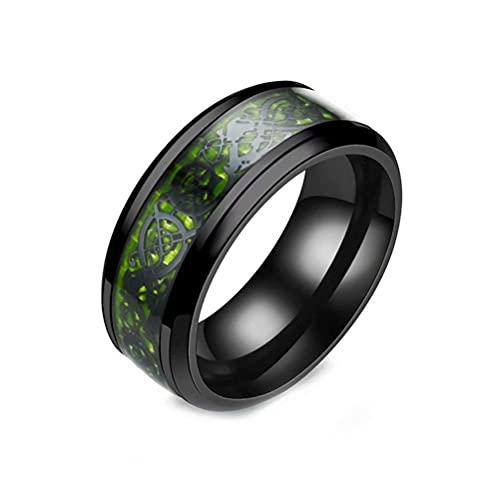 JAJAFOOK Mens 8mm Celtic Dragon Ring Central Carbon Fiber Stainless Steel Ring Wedding Band, Purple 8