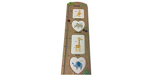 Medidor de altura. Tabla de crecimiento para colgar en la pared, con portafotos para niños y niñas, decoración de la habitación infantil. Dakota. 1 unidad (Marrón Madera Natural)