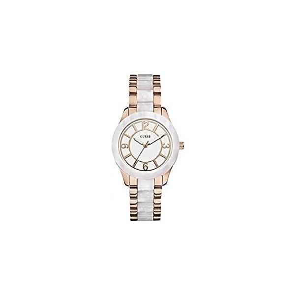 Guess W0074L2 – Reloj de Pulsera para Mujer, Color Blanco/Plata